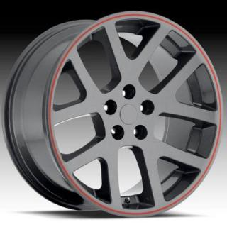 FACTORY REPRODUCTIONS WHEELS  DODGE VIPER GREY RIM with RED STRIPE