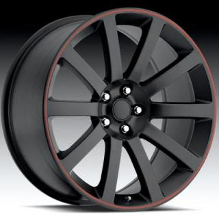 FACTORY REPRODUCTIONS WHEELS  CHRYSLER 300 SATIN BLACK with RED STRIPE
