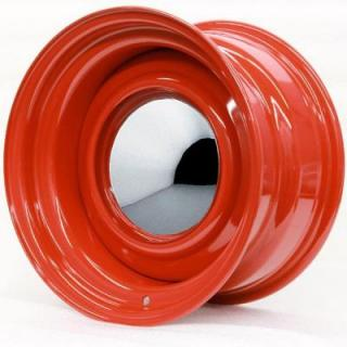 HRH STEEL WHEELS  SMOOTHIE BARON RED WITH SMOOTHIE CAP AND TRIM RING