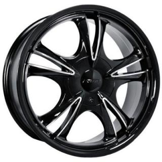 FORTE WHEELS - SEPT. SALE!  F58 DARK FIVE BLACK RIM with MIRROR FACE