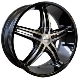 FORTE WHEELS  F56 KOMA BLACK RIM with MIRROR FACE