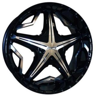 FORTE WHEELS  F19 RUGBURN BLACK RIM with MIRROR FACE
