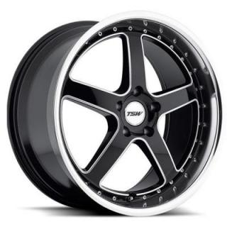 TSW WHEELS  CARTHAGE GLOSS BLACK RIM with MIRROR LIP and MILLED SPOKES