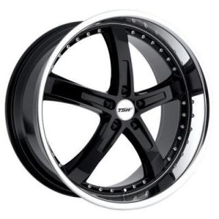 TSW WHEELS  JARAMA GLOSS BLACK RIM with MIRROR CUT LIP