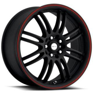 FOCAL WHEELS  F16 163 MATTE BLACK RIM with RED LIP STRIPE
