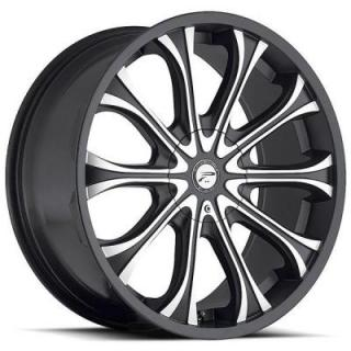 PLATINUM WHEELS  MOGUL 408 GLOSS BLACK RIM with DIAMOND CUT ACCENTS