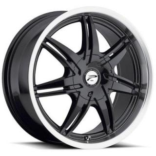 PLATINUM WHEELS  MANTIS 204 GLOSS BLACK RIM with DIAMOND CUT LIP