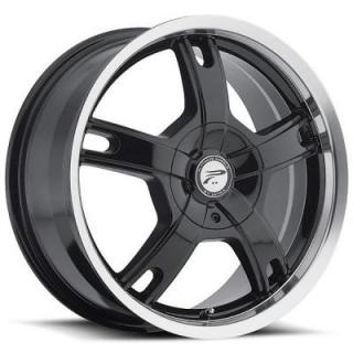 PLATINUM WHEELS  TRACKER 210 GLOSS BLACK RIM with DIAMOND CUT LIP
