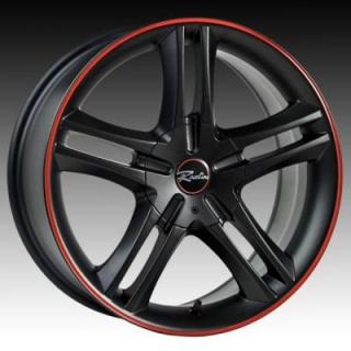 RACELINE WHEELS  195 BLACK RIM with RED STRIPE