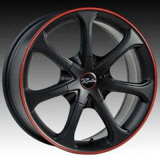 RACELINE WHEELS  197 BLACK RIM with RED STRIPE