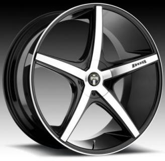 DUB WHEELS  RIO 5 S113 BLACK RIM with MACHINED FACE
