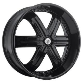 TIS WHEELS  533B GLOSS BLACK RIM with BLACK RIVETS 6-SPOKE