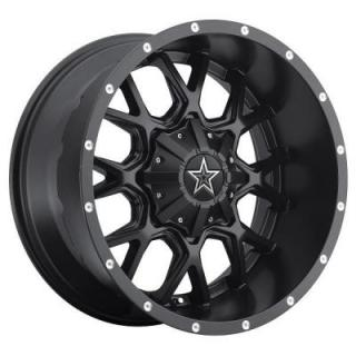 SPECIAL BUY WHEELS  DROPSTARS WHEELS 645B SATIN BLACK CNC MILLED LIP ACCENTS PPT