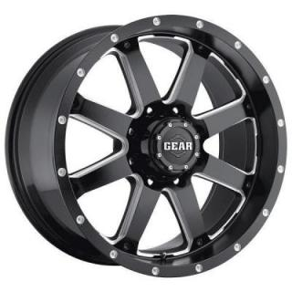 SPECIAL BUY WHEELS  GEAR ALLOY WHEELS 726MB BIG BLOCK GLOSS BLACK/MILLED PPT