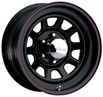 PACER WHEELS  342B BLACK DAYTONA RIM WITH RED and BLUE STRIPE