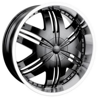 DIP WHEELS  PHOENIX BLACK RIM with MACHINED LIP