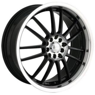 AKITA RACING WHEELS  AK25 BLACK RIM with MACHINED LIP and HUB