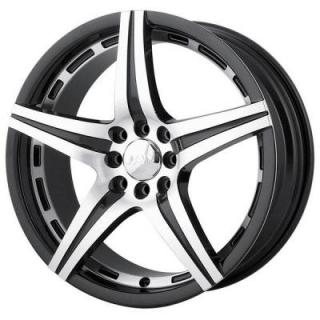 MPW WHEELS  MP106 BLACK RIM with MACHINED FACE