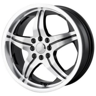 MPW WHEELS  MP107 BLACK RIM with MACHINED FACE and LIP