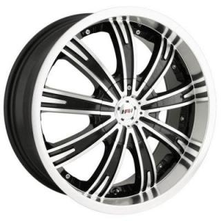 MPW WHEELS  MP108 BLACK RIM with MACHINED FACE and LIP