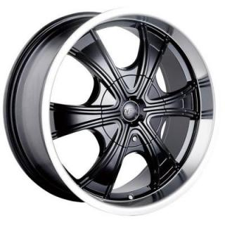 MPW WHEELS  MP210 BLACK RIM with MACHINED LIP
