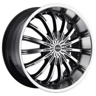 DROPSTARS WHEELS  640MB BLACK RIM with MACHINED FACE and LIP