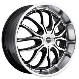 DROPSTARS WHEELS  641MB BLACK RIM with MACHINED FACE and LIP and GLOSS BLACK ACCENTS