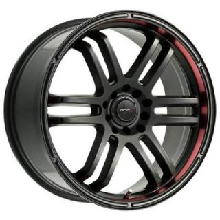 DRIFZ WHEELS  207B BLACK RIM with RED RACING STRIPE