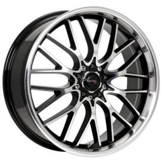 DRIFZ WHEELS  302MB VORTEX GLOSS BLACK RIM with MACHINED FACE and LIP