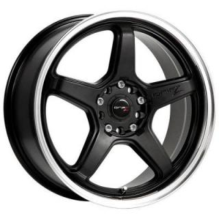 DRIFZ WHEELS  304MB CIRCUIT BLACK RIM with MIRROR MACHINED LIP