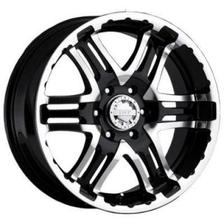 GEAR ALLOY WHEELS  713MB DOUBLE PUMP BLACK RIM with MIRROR MACHINED FACE and LIP