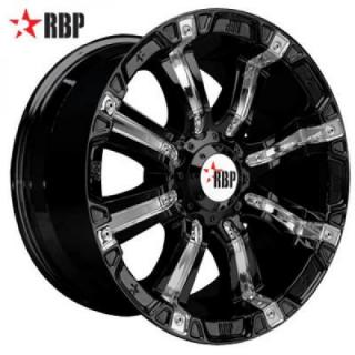 RBP 94R BLACK RIM with CHROME INSERTS by RBP WHEELS