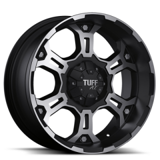 TUFF A.T. WHEELS  T03 FLAT BLACK MACHINED FACE AND FLANGE