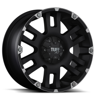 TUFF A.T. WHEELS  T04 BLACK WITH MACHINED FLANGE