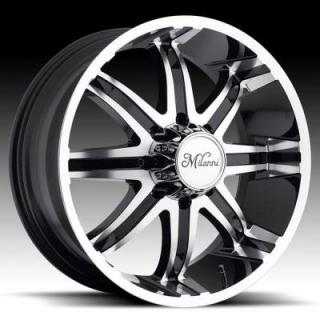 MILANNI WHEELS  KOOL WHIP-8 446 RWD BLACK/ RIM with MACHINED FACE