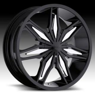 MILANNI WHEELS  STALKER 368 FWD GLOSS BLACK RIM with CHROME INSERTS
