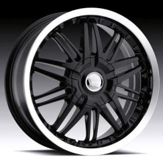 VISION WHEELS  AVENGER 381 FWD GLOSS BLACK RIM with MACHINED LIP