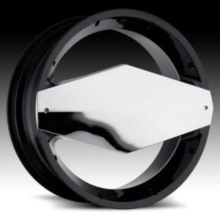 VISION WHEELS  MORGANA 449 RWD GLOSS BLACK RIM with CHROME FACE PLATE
