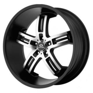 SPECIAL BUY WHEELS  LORENZO WL026 MATTE BLACK RIM with MACHINED FACE PPT