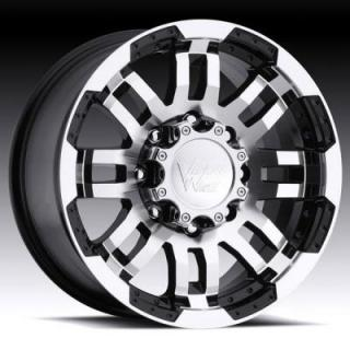VISION WHEELS  WARRIOR 375 GLOSS BLACK RIM with MACHINED FACE 8 LUG