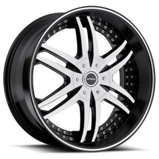 STRADA WHEELS  DENARO BLACK MACHINED RIM