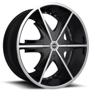 STRADA WHEELS  PISTOLA BLACK RIM with MACHINED FACE