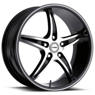 STRADA WHEELS  RIGA BLACK RIM with MACHINED FACE