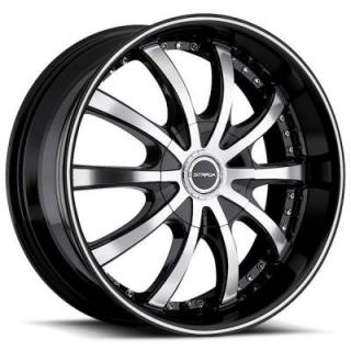 SOLE BLACK RIM with MACHINED FACE from STRADA WHEELS