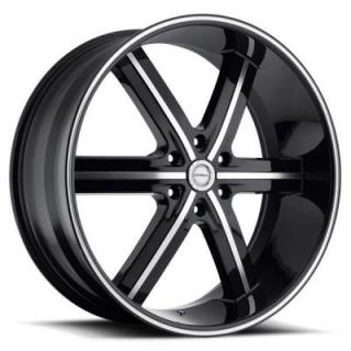 STRADA WHEELS  SPAGO BLACK RIM with MACHINED FACE