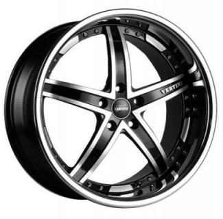 VERTINI WHEELS   FAIRLADY BLACK RIM with MACHINED ACCENTS and CHROME LIP