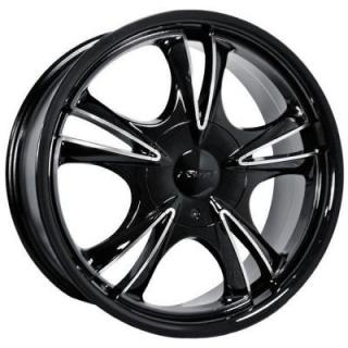 SPECIAL BUY WHEELS  FORTE - F58 DARK FIVE BLACK RIM with MIRROR FACE PPT