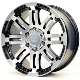 SPECIAL BUY WHEELS  VISION WHEELS - WARRIOR 375 GLOSS BLACK RIM with MACHINED FACE PPT