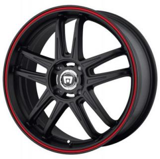 MR117 MATTE BLACK RIM with RED STRIPE from MOTEGI RACING WHEELS