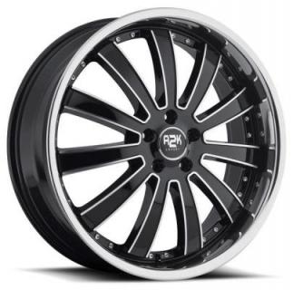 REV WHEELS  A2K 725 BLACK RIM with CHROME INSERTS and STAINLESS STEEL LIP